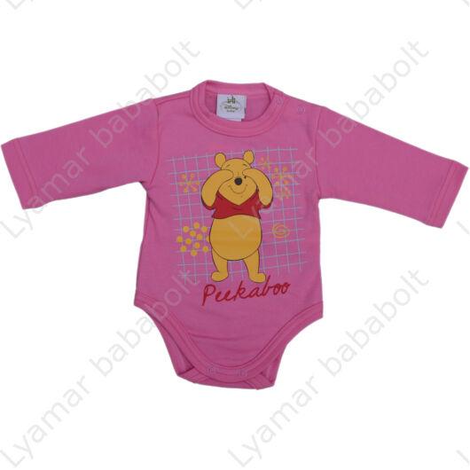 Disney, Micimackó mesefigurás, hosszú ujjú, rózsaszín színű, pamut body (Méret: 56-80)