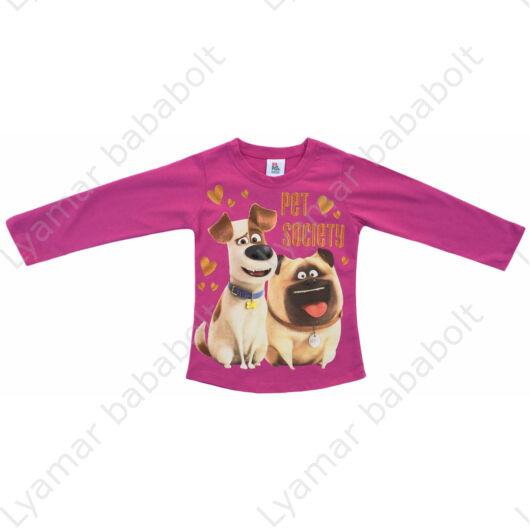 A kis kedvencek titkos élete csillámos hosszú ujjú felső, rózsaszín Max és Mel kutyussal (Méret: 92-128)