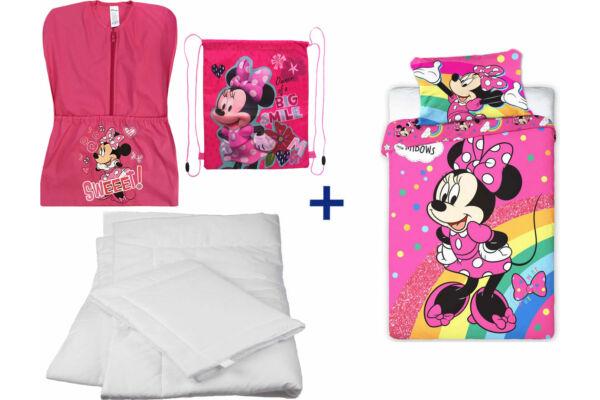 Oviszsák tornazsák csomag, ovis ágyneműhuzattal, paplannal, párnával, Disney Minnie