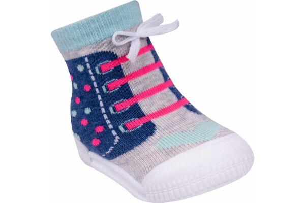 Gyerek zoknicipő, 3D cipőfűzővel, szívecskés (Méret: 20-23)
